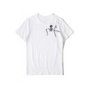 Funny Skull Print Pocket Chest Basic Round Neck Short Sleeve Loose Fit T-Shirt
