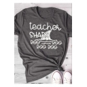 Funny Letter TEACHER SHARK Graphic Printed Grey Short Sleeve T-Shirt