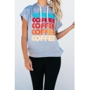 Stylish Letter COFFEE Printed Drawstring Hooded Gray Loose Casual T-Shirt