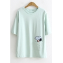 Cute Cartoon Snoopy Pocket Basic Round Neck Short Sleeve Cotton Casual T-Shirt for Students