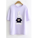 Summer Cute Cartoon Rabbit Patched Short Sleeve Loose Fitted T-Shirt