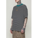Trendy Contrast Collar Short Sleeve Classic Striped Oversized T-Shirt