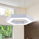 Metal Hex Pendant Light in Contemporary Style Matte White Finish 16