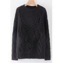 Tassel Long Sleeve Round Neck Cable Plain Black Loose Sweater