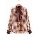 Tie Neck Long Sleeve Geometric Printed Leisure Button Down Burgundy Shirt