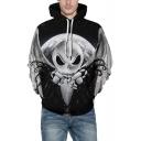 3D Skull Printed Long Sleeve Colorblock Gray Unisex Hoodie