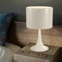 Round Shade Desk Light Designers Style Modern Metal Night Light in White for Bedroom