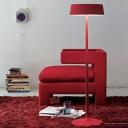 Round Shade Living Room Lighting Simplicity Metal 3 Light Decorative Floor Light in Red
