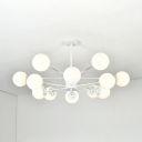 Milky Glass Ball Shade Hanging Lamp Simplicity Modern Multi Light Pendant Light