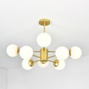 Opal Glass Ball Hanging Lamp Designers Style 8 Light Accent Suspension Light in Gold
