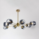 Branch Ceiling Light Designers Style Metal 8 Light Chandelier in Gold for Sitting Room