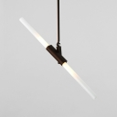 2 Light Pipe Hanging Light Concise Designers Style Metal Rotatable LED Pendant Lighting in Black