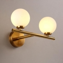 2 Light Spherical Wall Light Concise Modern Glass LED Wall Sconce in Gold Finish