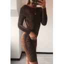 Hot Popular Long Sleeve Round Neck Plain Twist Open Back Bodycon Mini Dress