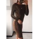 Hot Popular Long Sleeve Round Neck Plain Twist Open Back Bodycon Mini Dress