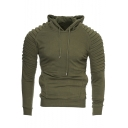 Men's Unique Solid Pleated Long Sleeve Side Zip Embellished Fitted Drawstring Hoodie