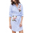 New Arrival Long Sleeve Lapel Collar Button Down Floral Printed Tunics Blue Shirt