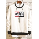 Boys Basic Simple Letter GOVEPHAT Print Contrast Hem Crew Neck Long Sleeve Pullover Sweatshirt