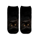Cool Cotton 3D Cute Cat Printed Black Ankle High Socks