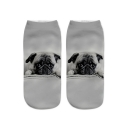 Unique Dog Printed White Ankle High Cotton Socks