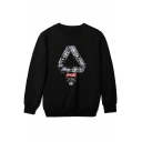 Street Style Letter Camo Print Triangle Crewneck Long Sleeve Black Regular Fitted Sweatshirt