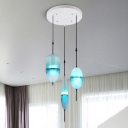 3 Light Drop Cluster Pendant Light Modernism Faded Glass Suspension Lamp with Round Canopy