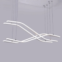 Silicon Gel Curved Hanging Lamp Minimalist 4 Light Cluster Pendant Light for Library