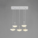 Modern Long Pendant Lighting Acrylic Shade 5 Light LED Suspended Lights in Warm White Light