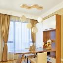 4 Light Round Shape Hanging Light Simple Modern Wood Pendant Light in White for Bedroom