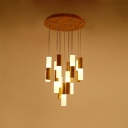 Acrylic Tubed Pendant Light Modern Design Multi Light Hanging Light with Round Wood Canopy