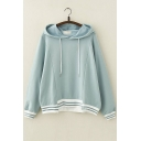 Girl's Long Sleeve Striped Asymmetric Hem Stylish Drawstring Hoodie
