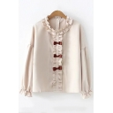 Khaki Long Sleeve Ruffle Round Neck Bow Embellished Button Down Leisure Shirt