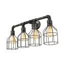 Bird Cage 4 Light Wall Lamp Indsutrial Weathered Iron Pipe Wall Sconce for Farmhouse Outdoor Porch