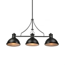 Three-Light Pool Table Light LED Linear Island Pendant in Black Finish