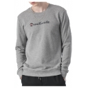Unique Letter REACTIVATE Pattern Long Sleeve Crew Neck Rib Knit Hem Loose Fit Sweatshirt for Guys
