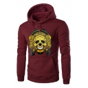 Stylish Skull Printed Long Sleeve Kangaroo Pocket Fitted Pullover Hoodie