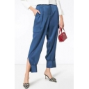 Ladies Elegant High Rise Flap Pocket Side Split Cuff Loose Fitted Plain Blue Pants
