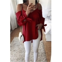 Sexy Spaghetti Straps Cold Shoulder Bow-Tied Cuff Long Sleeve Basic Plain Blouse