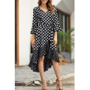 Stylish Polka Dot Printed V-Neck Flared Sleeve Bow-Tied Waist Midi Asymmetrical Dress