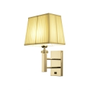Trapezoid Wall Lamp with Beige Gathered Fabric Shade Modern Fashion Single Head Wall Light