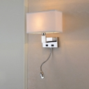 Shaded Wall Mount Light Modern Fashion Stainless Single Light Sconce Lighting with Spotlight