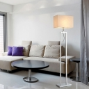 Rectangle Floor Light with Beige Fabric Shade Modern Design 1 Light Floor Lamp with Spotlight