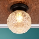 Textured Glass Globe Ceiling Light Modern Fashion 1 Light Flush Mount Lighting in Black