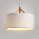 Simplicity Round Pendant Light Fabric Single Head Drop Ceiling Lighting in White
