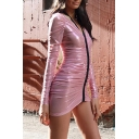Unique Sexy Sheer Mesh Long Sleeve V-Neck Zip-Embellished Front Ruched Detail Mini Pink Bodycon Dress for Party
