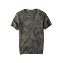 Men's Simple Round Neck Short Sleeve Retro Green Camouflage Print Casual T-Shirt