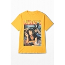 Cool Letter PULP FICTION Smoking Girl Print Round Neck Short Sleeve Cotton Loose Tee