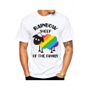 Cute Cartoon Letter RAINBOW SHEEP OF THE FAMILY Print Crewneck White T-Shirt for Men