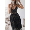 Women's Chic Spaghetti Straps V-Neck Sexy Open Back Midi A-Line Lace Slip Dress