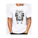 Men's White Cool Indian Lion Printed Round Neck Short Sleeve T-Shirt